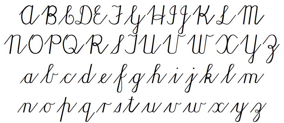 Lopende skrif font (los van mekaar)
